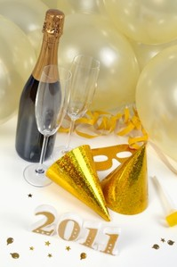 Champagne and party decorations for New Years Eve